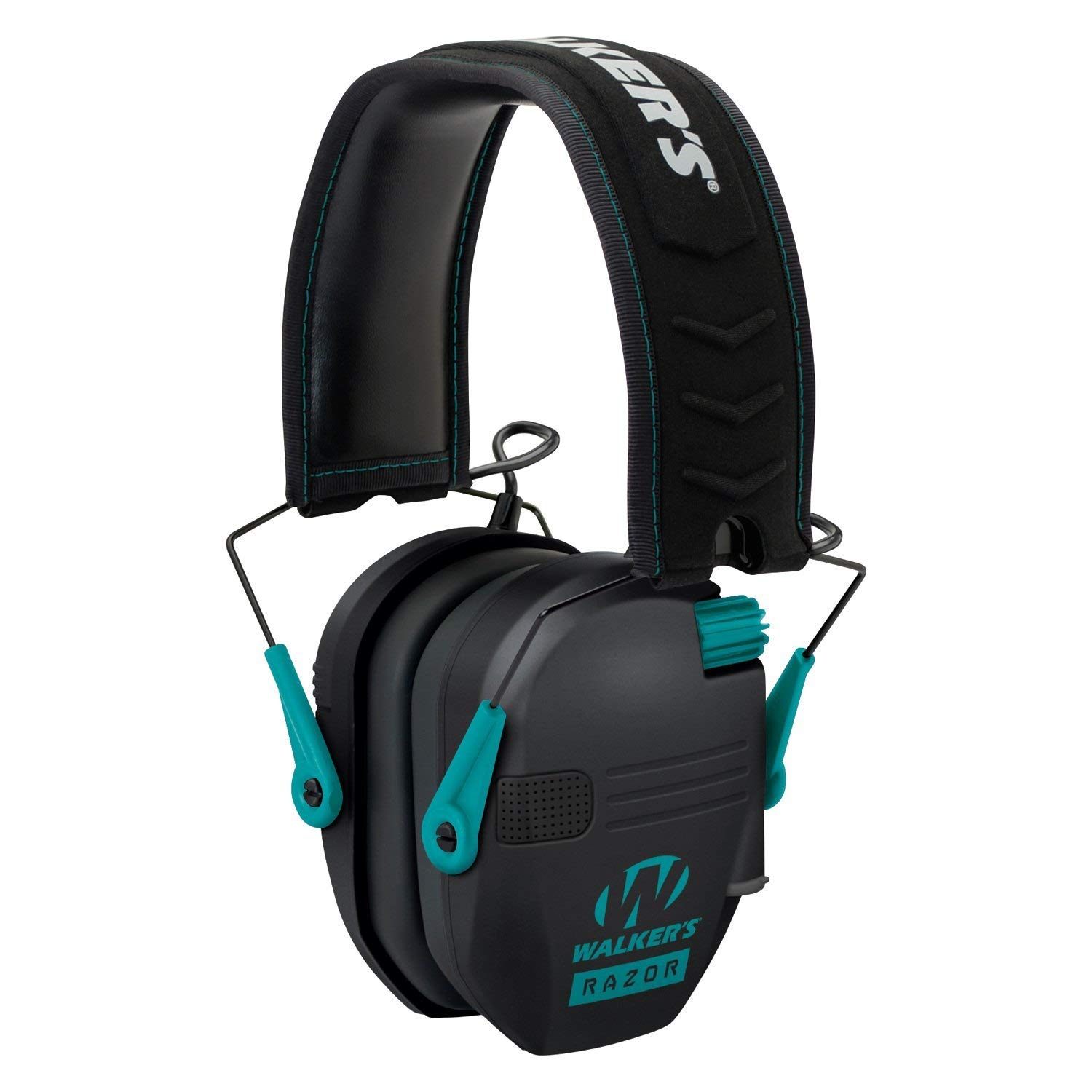 Walkers Razor Slim Electronic Shooting Hearing Protection Muff, Teal/Black (Sound Amplification and Suppression) with Shooting Glasses Kit by Walkers (Image #4)