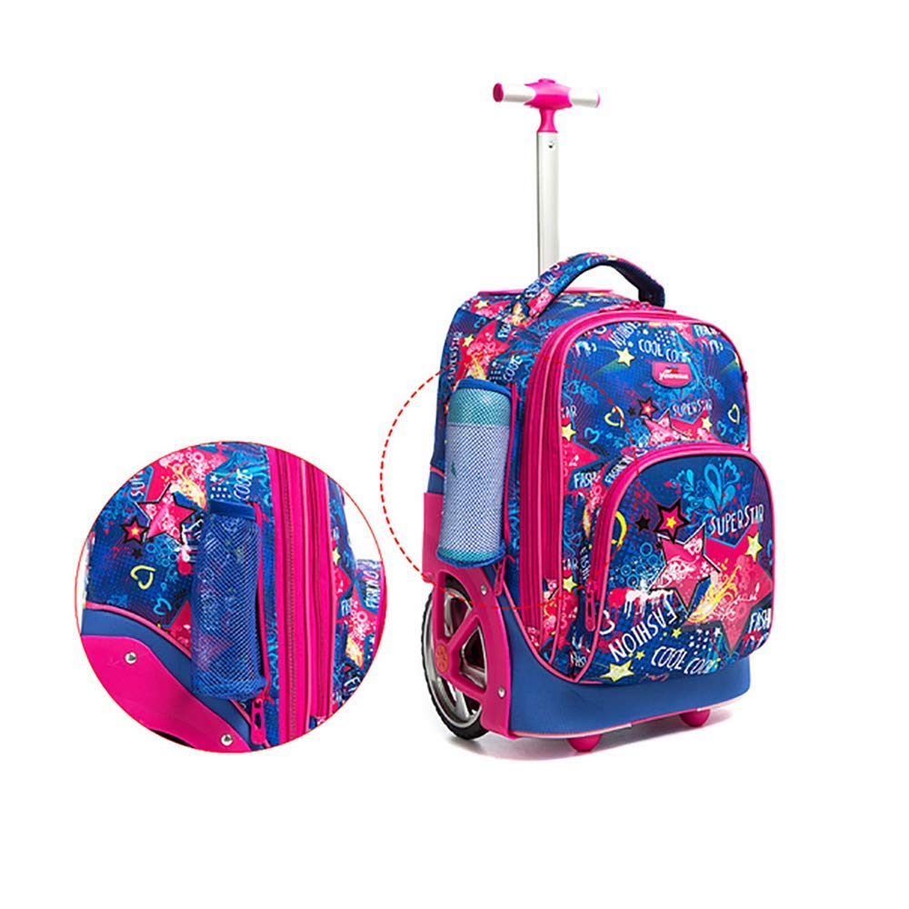 QCC/& Super Lightweight Large Storage Wheeled Rolling Backpack Multifunction Waterproof Travel Luggage for Travelling School Cabin Approved Bag 7-14 Years Old,E
