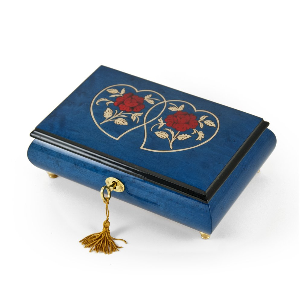 Radiant 18 Note Dark Blue Double Heart with Red Roses Inlay Music Jewelry Box - Unforgettable - SWISS
