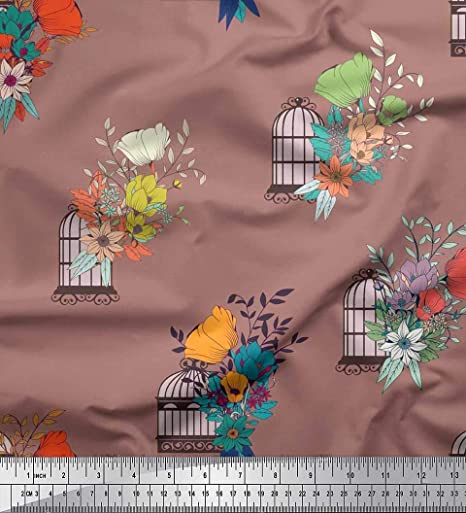 Soimoi Marrón seda Tela La jaula de pájaros, hojas y flores ...
