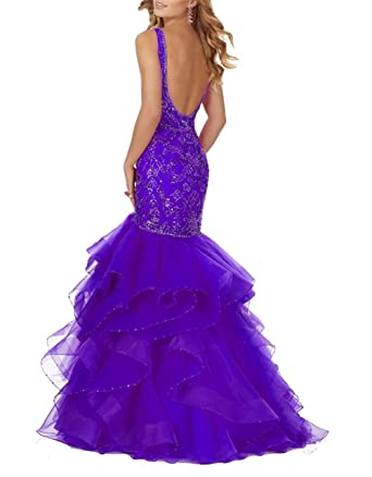 Ladsen Open Back Beaded Long Meramid Prom Dresses Purple US16 Size