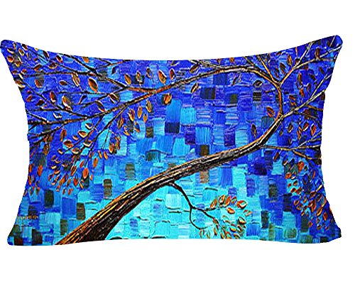 Colorful Oil Painting Beautiful Flowers Large Tree Blue Background Cotton Linen Decorative Throw Lumbar Waist Pillow Case Cushion Cover Rectangle 12 X 20 Inches