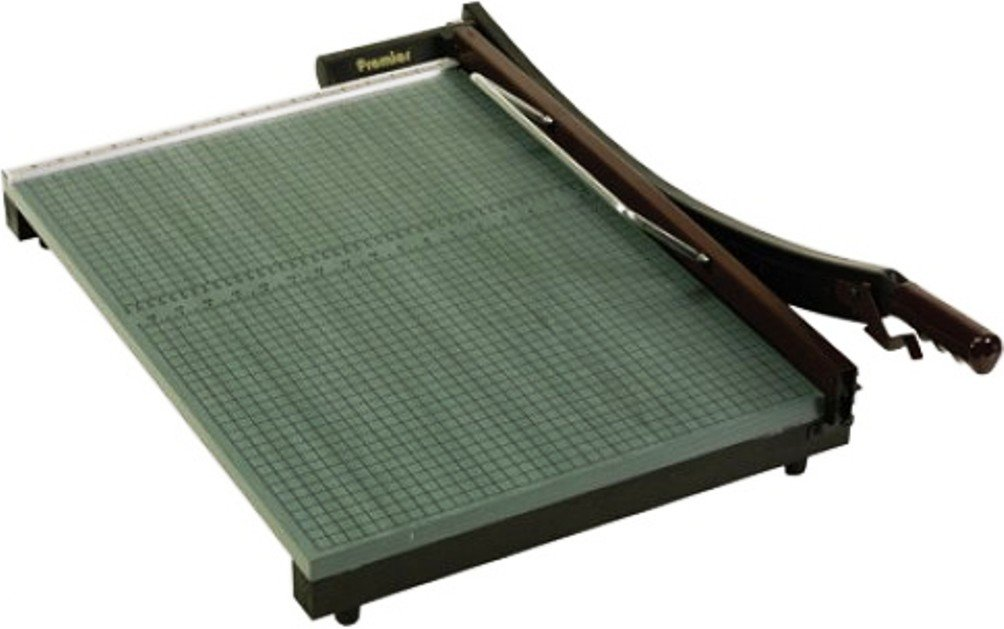 Martin Yale 724 Premier StackCut Heavy-Duty Trimmer, Green, Table size 18-1/2'' x 24'', Permanent 1/2'' grid and dual English and metric rulers, Ergonomic soft-grip handle by Premier