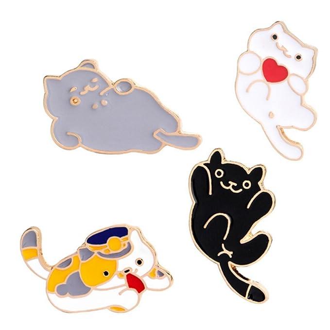 WINZIK Novelty Brooch Pin Set 4pcs Cute Cartoon Cat Kitten Pattern  Enamel-liked Lapel Pins Set Badges Ornaments for Women Girls Clothes Bags  Backpacks