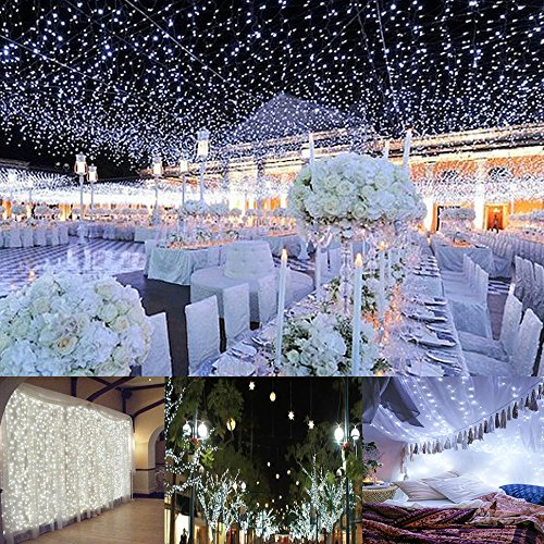 Curtain Lights, AGPTEK 9.8ft x 9.8ft Solar/Power driver (2-way) String Lights for Christmas/Halloween/Wedding/Party Backdrops - FULL Waterproof & UL Safety Standard - (Halloween Outside)