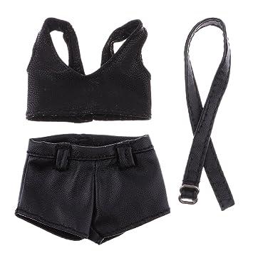 FLAMEER 1/6 Negro Faux Cuero Sujetador Pantalones Cortos Y Cinturón Conjunto para 12