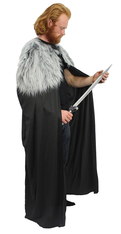 John Snow Long Cape Cloak Game of Thrones Direwolf Blackwatch Fancy Dress
