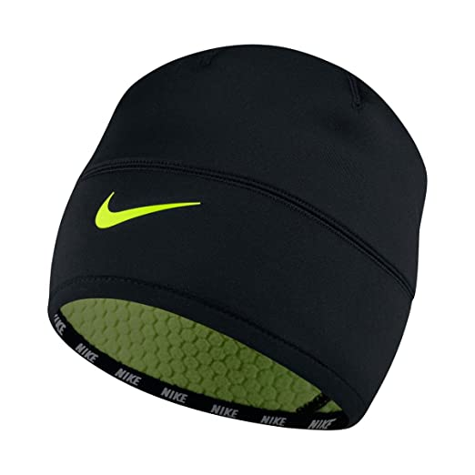 Amazon.com  Nike Therma-Fit Reversible Beanie Hat Black O S  Sports ... 66cace590c41