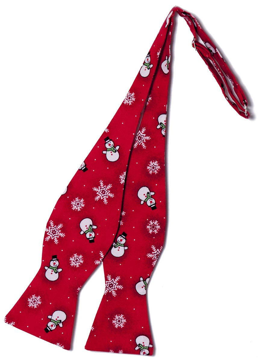 Red Snowman Self-tie Bow Tie Holiday Design for Baby to Adult (Boys)
