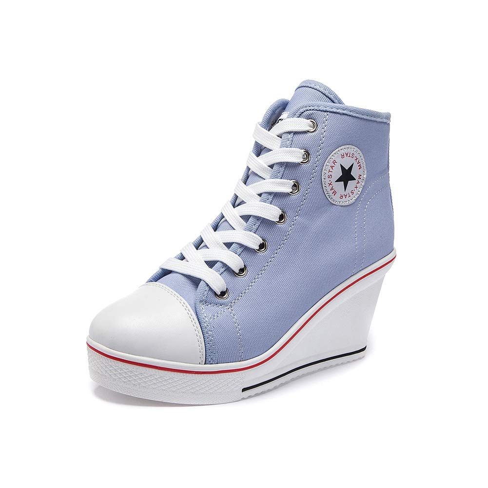 bluee Sokaly Women's Sneaker High-Heeled Canvas shoes High-Top Wedge Sneakers Platform Lace up Side Zipper Pump Fashion Sneakers