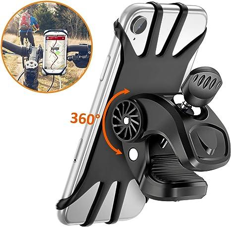 Vobon Soporte Móvil Bicicleta, Soporte Móvil Bici 360 Grados Anti Vibración Prevención De Caída Silicona Manillar Porta Móvil Moto 4.7 o 6.5 Pulgada Teléfonos (Negro): Amazon.es: Electrónica