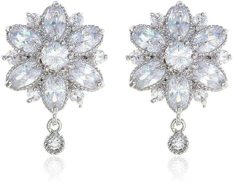 Simplicidad con Estilo Pendientes Mujer 's Simple con Incrustaciones de Circón Brillo Hermosos Accesorios Temperamento Creativo Único Cristal Colgante de Diamantes Romántico Regalo Dulce de la Joyerí