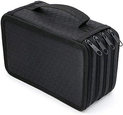 HOTEU - Estuche para lápices con 72 compartimentos, bolsa grande de varias capas con cuatro cremalleras para guardar lápices de colores y brochas de maquillaje, color negro 20 * 12.5 * 8.7 CM: Amazon.es: Oficina y papelería