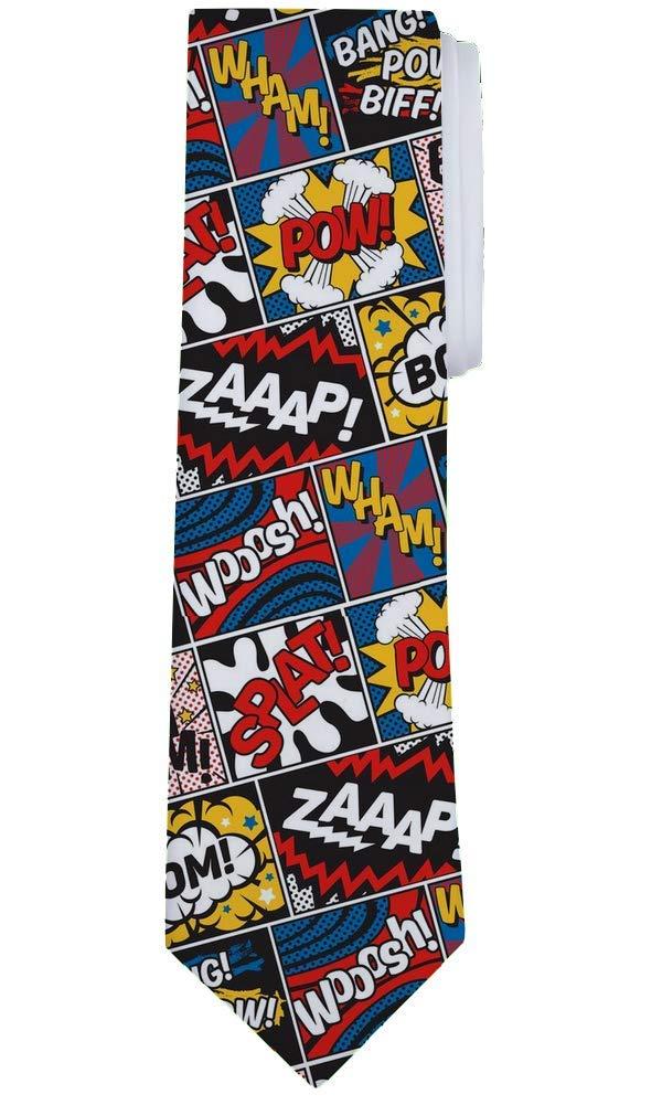 Fantasy Socks Funny Superhero Pow Marvel Inspired Necktie Tie 3.75 Satin