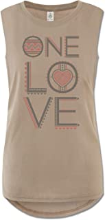 product image for Soul Flower Women's Organic Cotton One Love Muscle Tank Top, Tan Long Graphic High Neck Yoga Top, Sleeveless Ladies Shirt