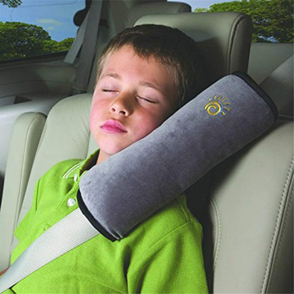 Ecloud Shop/® 2pcs Seatbelt Pillow,Car Seat Belt Covers for Kids Adjust Vehicle Shoulder Pads Safety Belt Protector Cushion Soft Auto Seat Belt Strap Cover Headrest Neck Support for Kids Blue+Gray