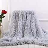 MYRU Plush Super Soft Blanket Bedding Sofa Cover Furry Fuzzy Fur Warm Throw Qulit Cozy Couch Blanket for Winter (51'x63', Grey)