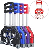FCH Folding Hand Truck Aluminum Portable Folding Hand Cart 165lbs Capacity Handy Trolley Dolly Cart Ideal for Home, Auto, Office,Travel Use