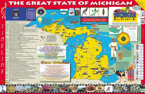 Michigan Wall Map - Gallopade Publishing Group 22 x 34 Inches The Michigan Experience Poster/Map (9780793395682)