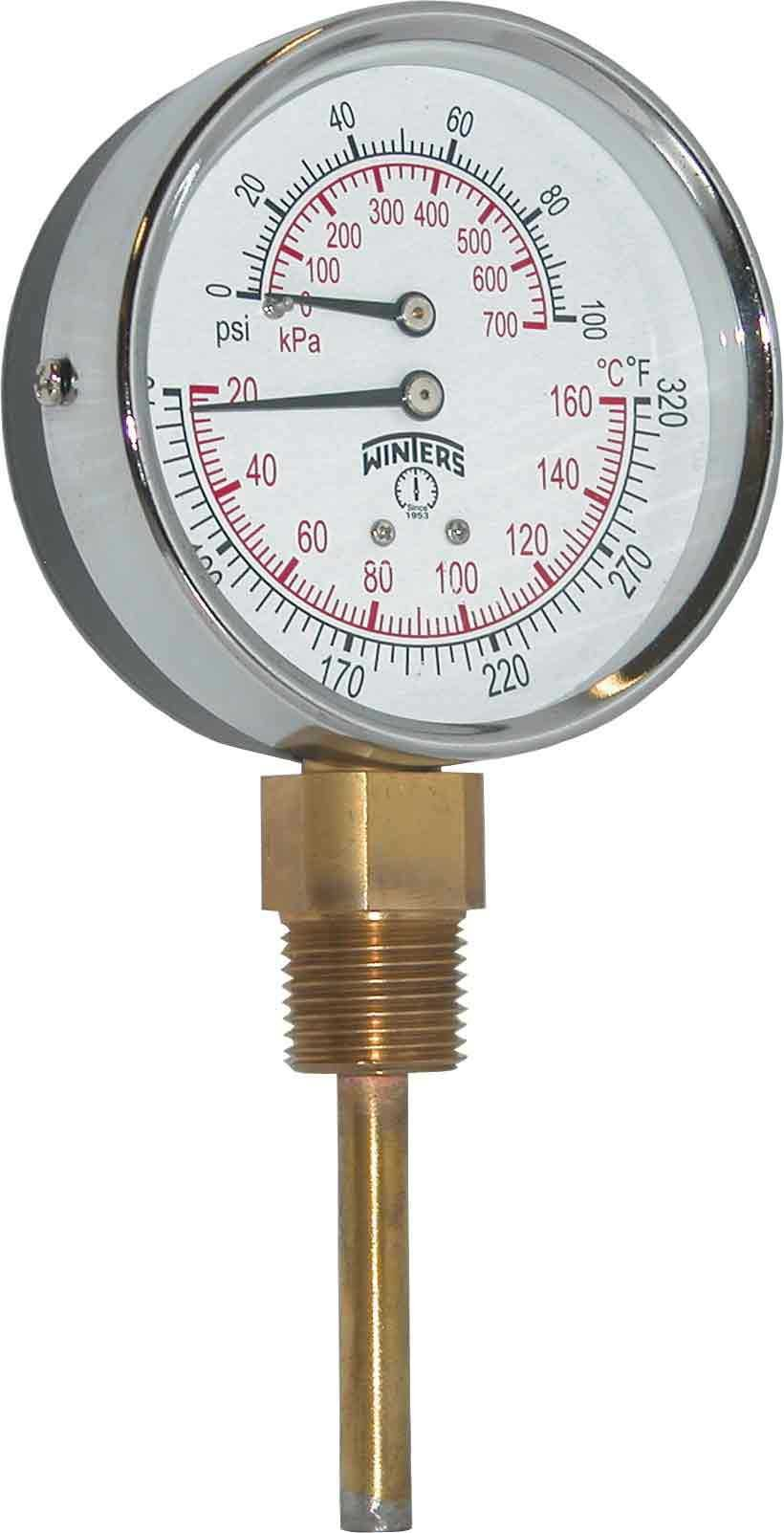 Winters TTD Series Steel Dual Scale Tridicator Thermometer with 2'' Stem, 0-100psi/kpa, 3'' Dial Display, ±3-2-3% Accuracy, 1/2'' NPT Bottom Mount, 70-320 Deg F/C