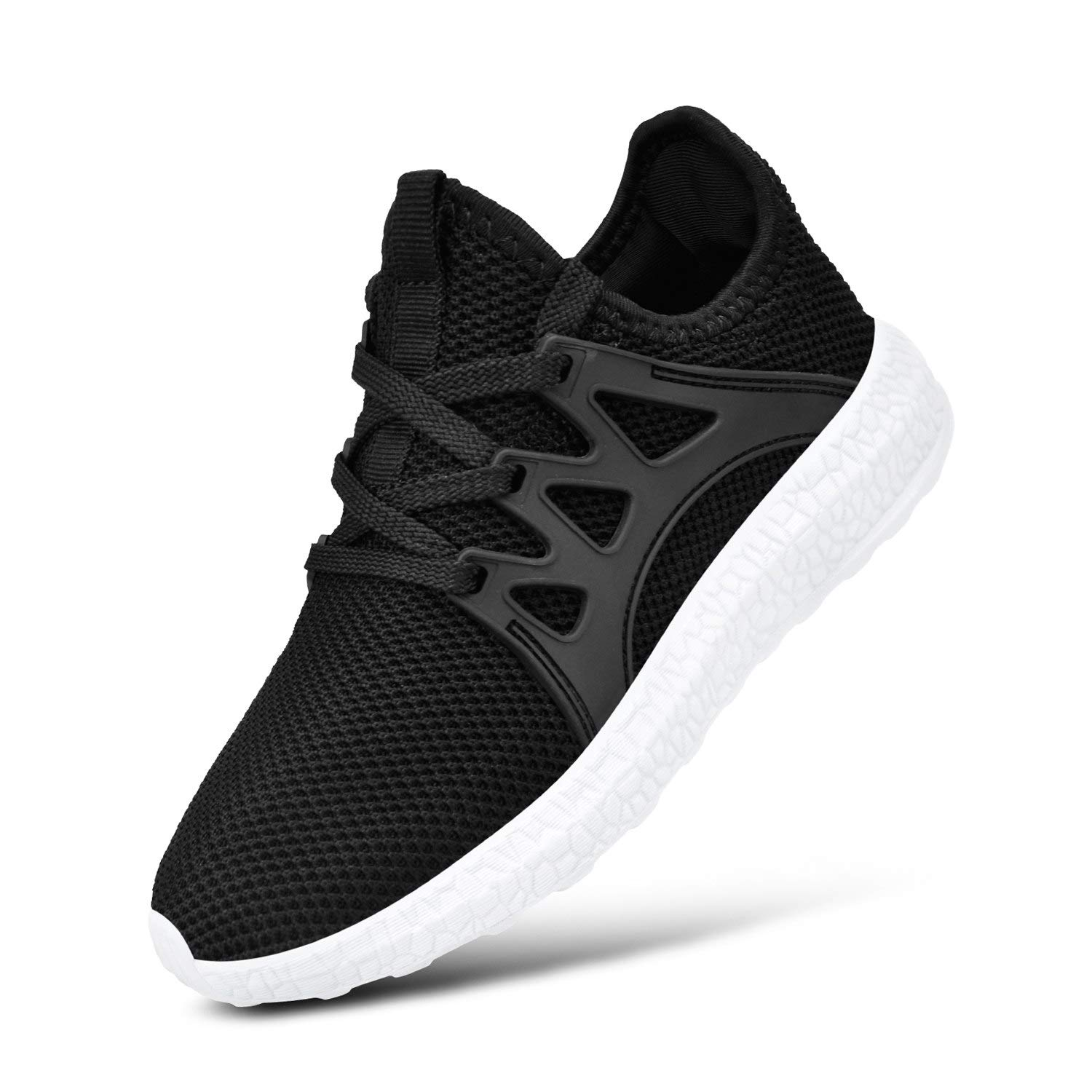MARSVOVO Shoes for Girls Mesh Light Weight Breathable Runing Walking Sneakers for Boys&Girls Black White Size4 Big Kid