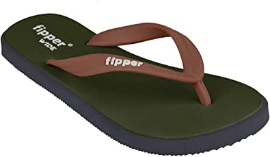 fipper Wide Men's Thongs, ArmyGreen/Grey/Darkbrown