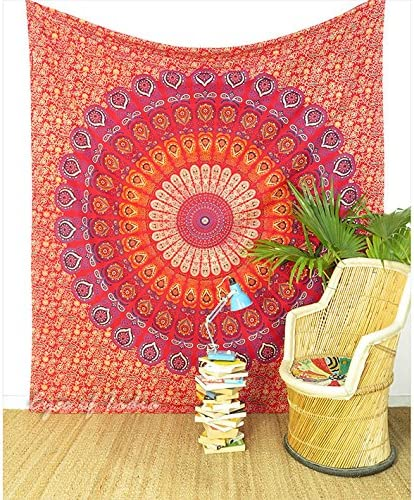 Eyes of India – Large Queen Red Orange Indian Elephant Mandala Tapestry Wall Hanging Picnic Bohemian Accent Boho Chic Handmade