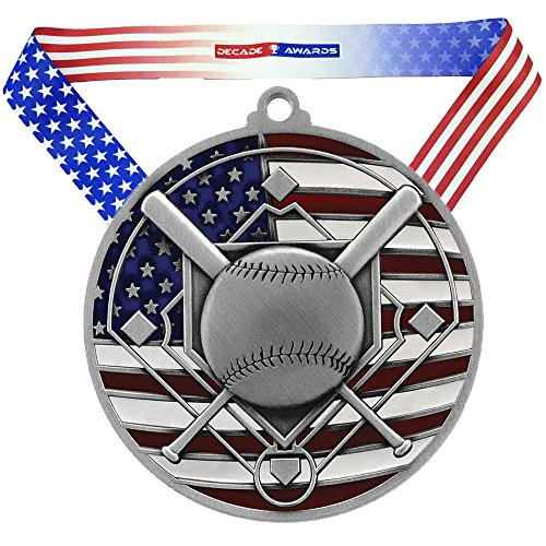 Baseball Medals - Decade Awards ⚾ Baseball Patriotic Medal - Silver ⚾ Red, White and Blue Baseball Award | Includes Exclusive Stars and Stripes American Flag V Neck Ribbon | 2.75 Inch Wide