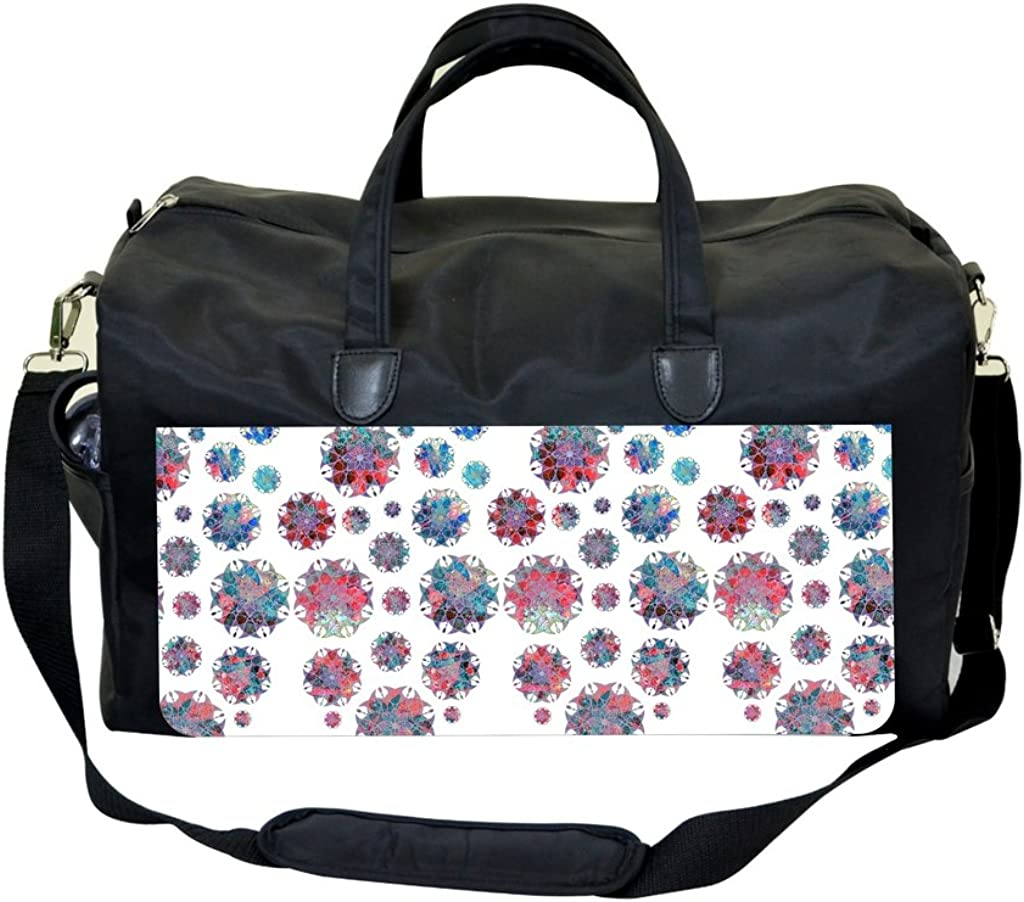 Abstract Flowers White Print Sports Bag