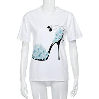 08f2a2f6 Women T-Shirt Short Sleeve Crewneck High Heels Printed Casual Loose Blouse  Tunic Top at Amazon Women's Clothing store: