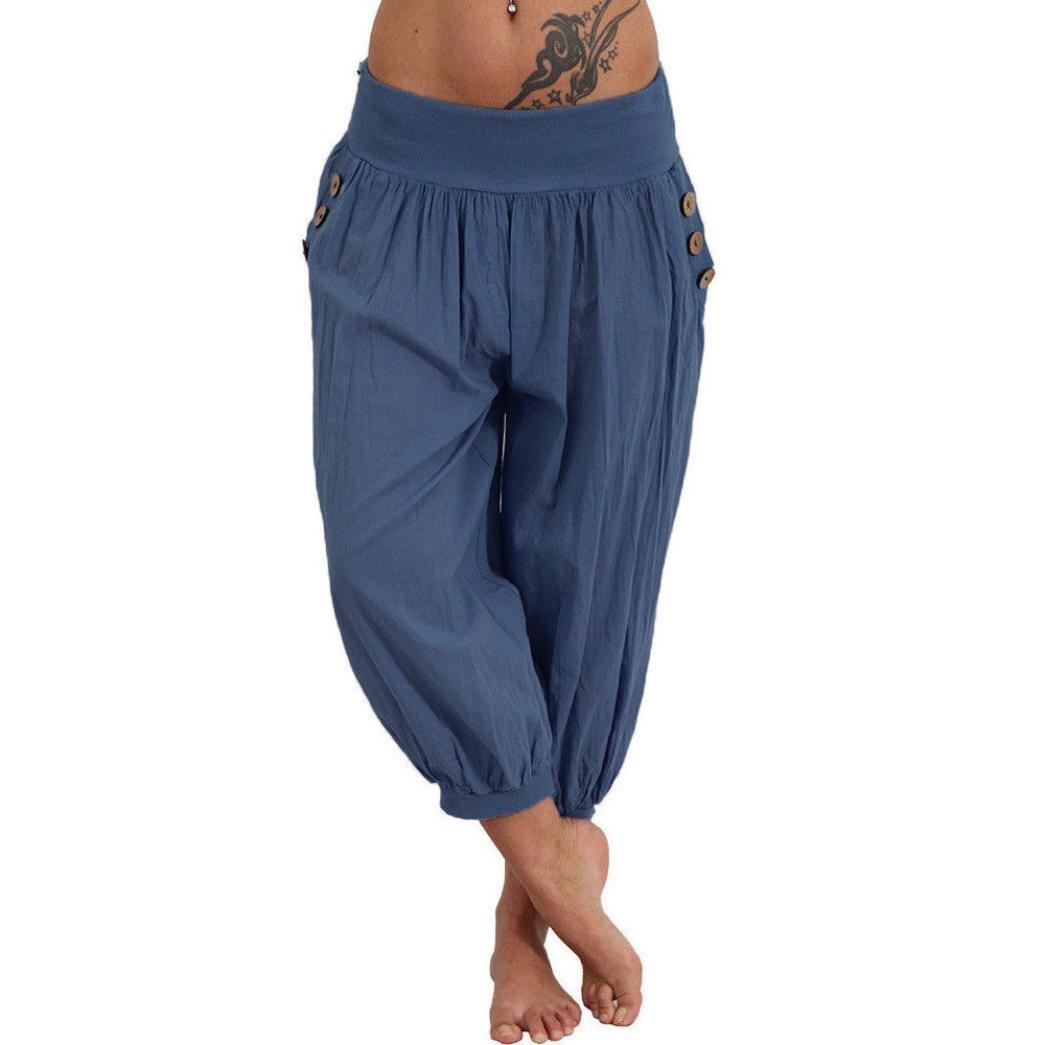 Damen Chiffon Hose Haremshose Pumphosen Ballonhose Aladinhose Harem Yoga Hosen