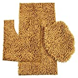 Daniel's Bath & Beyond 3 Piece Bath Set with 20'' x 31'' Bath Mat, 20'' x 18'' Contour Mat and 20'' x 18'' Lid, Chenille/Shiny Gold