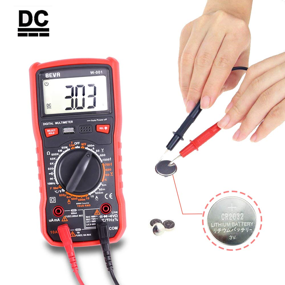 Transistors TRMS 6000 Counts Multimeters Manual and Auto Ranging; Measures Voltage Resistance Red Continuity BEVA Digital Multimeter Temperature Capacitance Frequency; Tests Diodes Current