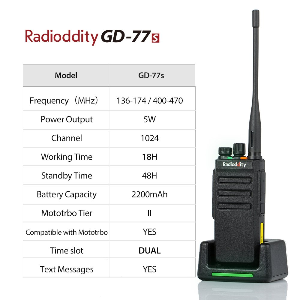 Radioddity GD-77S DMR Dual Band Two Way Radio Digital/Analog 136-174/400-470MHz Walkie Talkie 1024CH, Voice Prompt, For Commercial Use by Radioddity (Image #2)