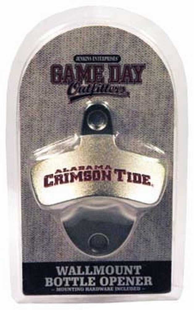 NCAA Alabama Crimson Tide Bottle Opener Metal Retro Wall Mount, Small, Metallic with Team Color