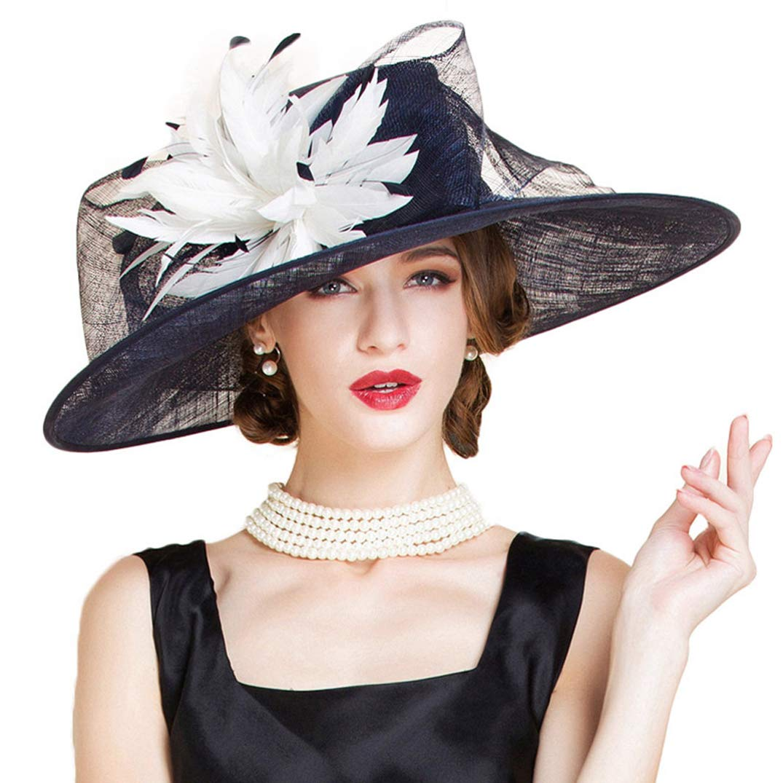 YALOEE Pillbox Hats for Women Fedora Elegant Linen Wedding Fascinator Hat Formal Party Caps Blue by YALOEE (Image #2)