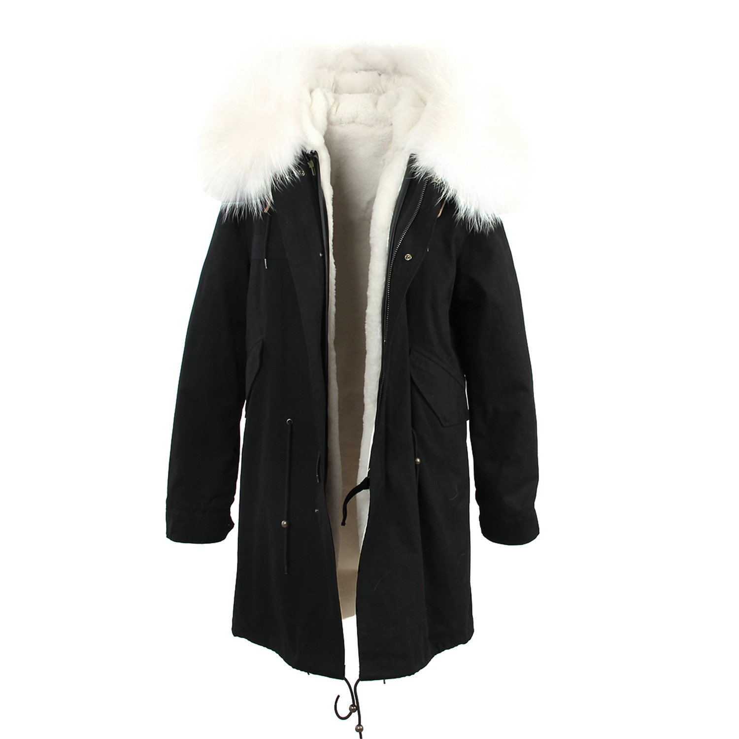 ADC-Hotsell women's army green Large color raccoon fur hooded coat outwear long detachable lining winter jacket brand style color 8 S