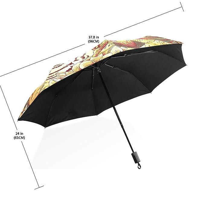 COOSUN Fondo tropical floral transparente con Tiger personalizada plegable de Sun paraguas de la lluvia del viento resistente a prueba de viento plegable de ...
