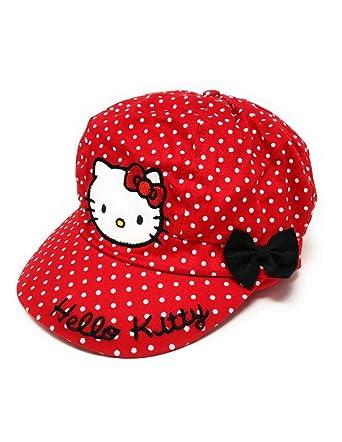 new design so cheap buy good Hello kitty Casquette Gavroche Enfant Fille Blanc et Rouge de 3 à 9ans