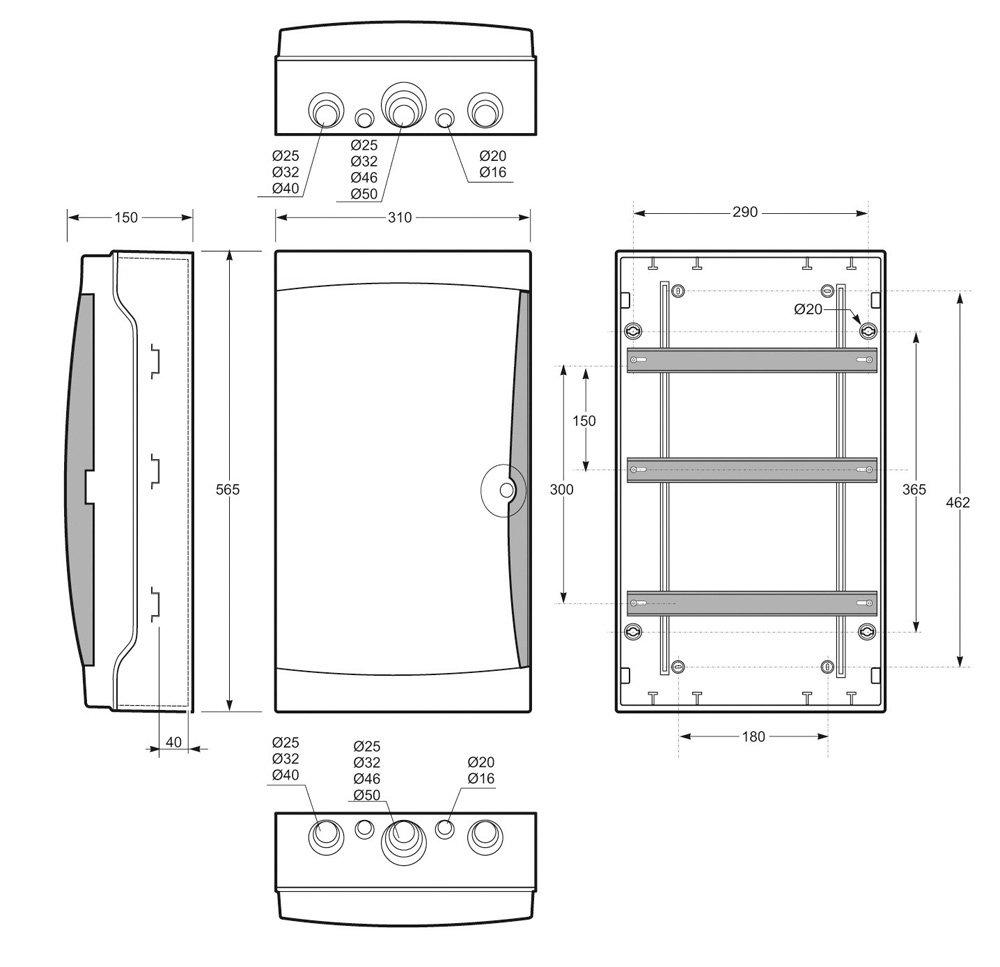 Metall-Schloss f/ür Aufputz Feuchtraum Verteiler und Verteiler Pro mit 2 Schl/üsseln IP65