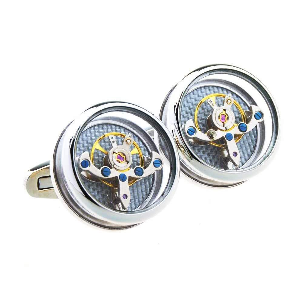 Cufflinks Men's French Silver Rounded Tourbillon Machinery with Elegant Box