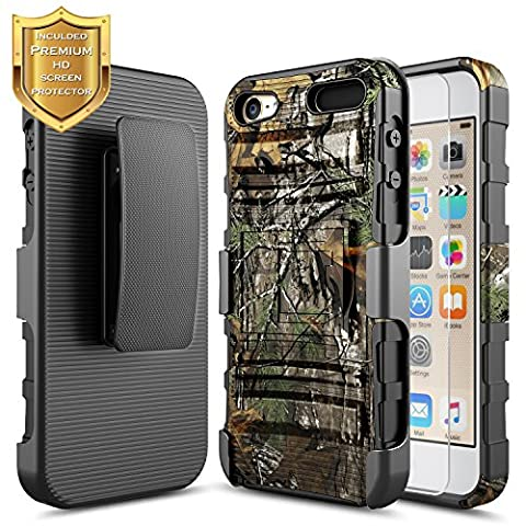 Apple iPod Touch 6th Case, iPod 5th Generation Case, NageBee [Heavy Duty] Armor Shock Proof Dual Layer [Swivel Belt Clip] Holster with [Kickstand] Combo Rugged Case With [HD Screen Protector] - (Ipod 5th Generation With Holster)