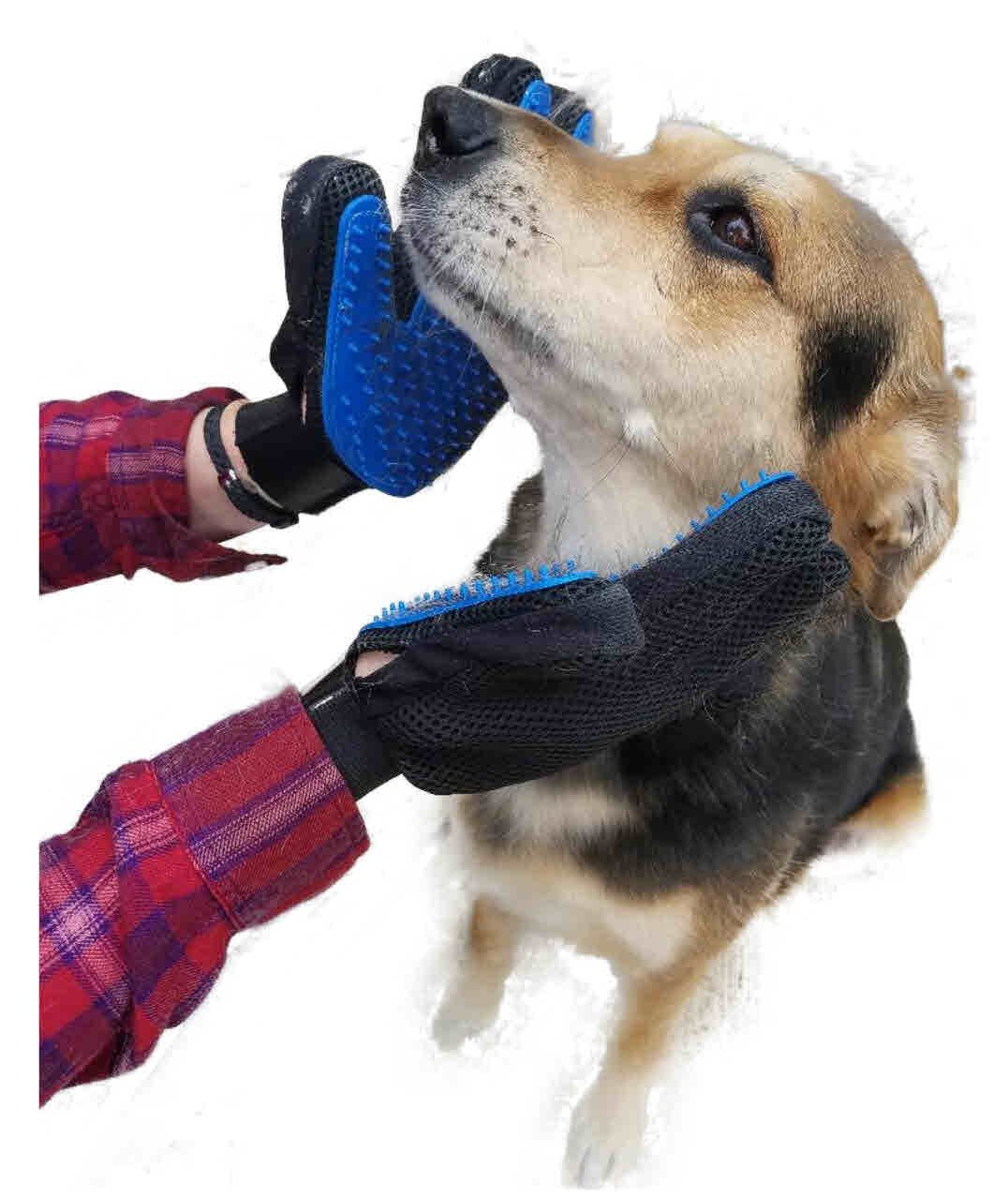 Dogs and Cats Love Grooming Gloves Left and Right Pair Gentle Massage Perfect for Long and Short Hair