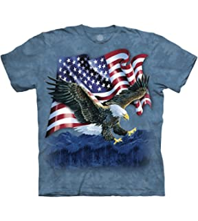 The Mountain USA American Flag Bearing Eagle Adult Unisex T-Shirt