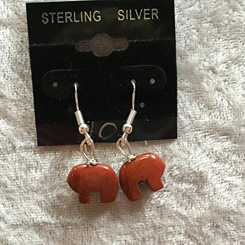 natural red jasper gemstone zuni bear sterling silver dangle earrings
