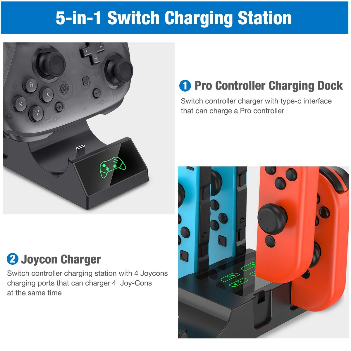 Amazon.com: Charger for Nintendo Switch Controller ...