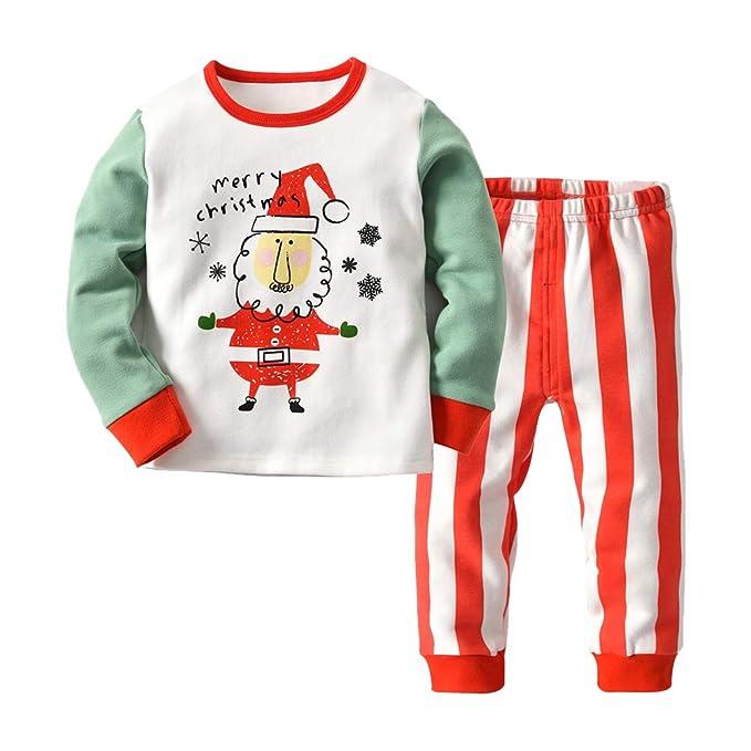 Goyajun Traje de Dormir para Niños Pequeños - Manga Larga + Pantalones Niños Pijamas Ropa de Dormir para Bebés Xmas Algodón Patrón de Santa Claus 2 T - 9 T: ...