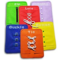 Early Learning Education Basic Life Skills Toys, 6 PCS Learn to Dress Boards- Zip, Snap, Button, Buckle, Lace & Tie, Educational Quiet Book Toy for Baby Toddlers Children