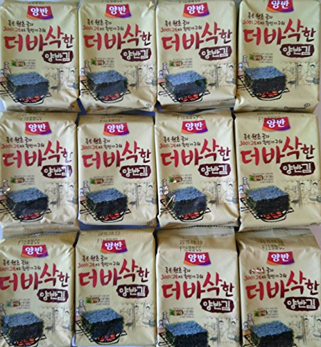 Premium Natural Roasted Seaweed (Nori) Snack 5g -(Pack of 12) by Yangban