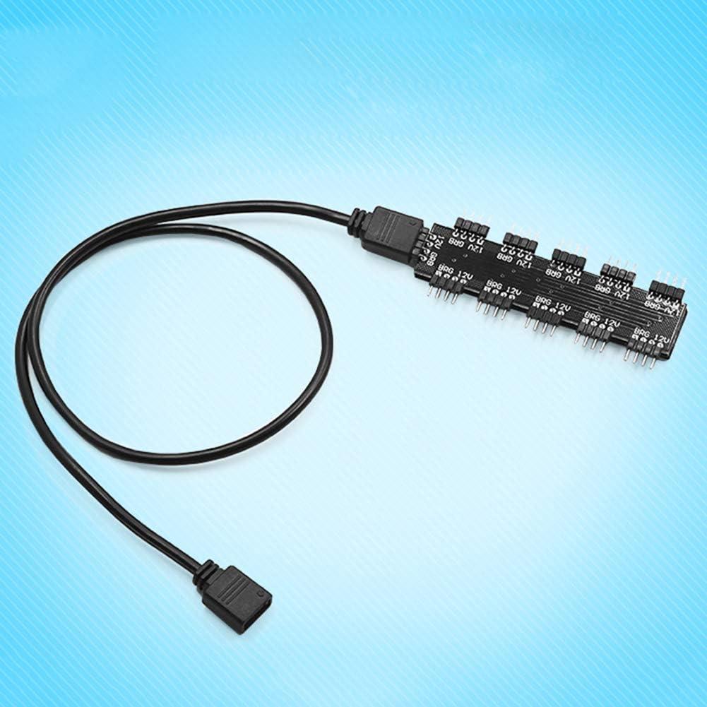 TLfyajJ 1A 10Way 12V 4pin PC Ordenador CPU RGB refrigeración Ventilador Controlador Hub con Cable